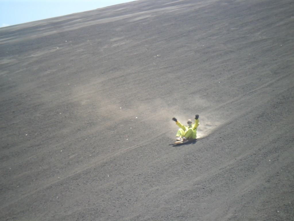 volcano board ride in ash